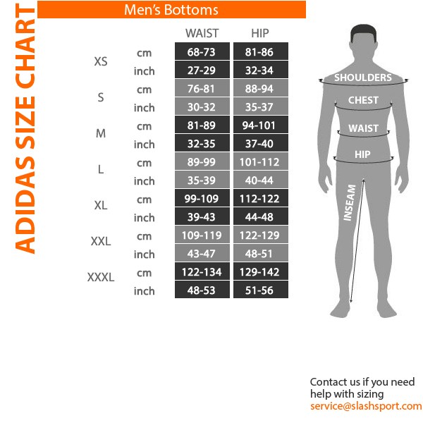 Adidas Track Pants Measurements